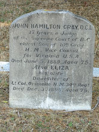 John Hamilton Gray (New Brunswick politician) - John Hamilton Gray's headstone