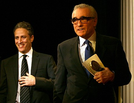 Jon Stewart with Scorsese at the Peabody Awards in 2006 Jon Stewart and Martin Scorsese (8250488258).jpg