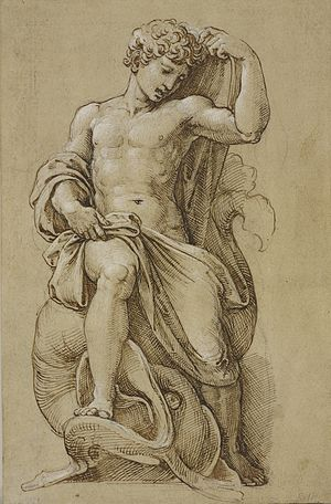 Jonah (Lorenzetto) - The statue of Jonah, drawing in the Royal Collection (c. 1520-23).
