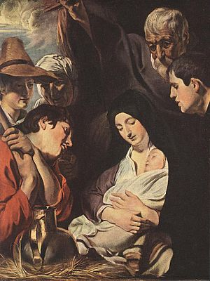 1616 in art - Jordaens – Adoration of the Shepherds, Mauritshuis