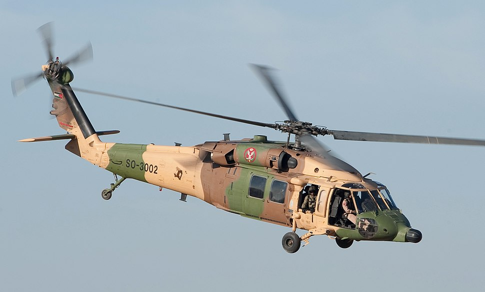 Jordanian Air Force UH-60 Black Hawk helicopter (cropped)