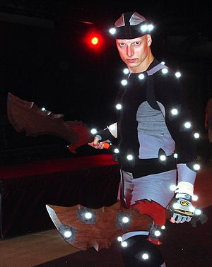 Motion-capture acting - Motion-capture actor Joseph Gatt wearing sensors on his body