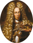 Oval painting of a man wearing an enormous curly blonde wig that reaches to his chest. Under his pretty golden tresses he wears a steel cuirass.