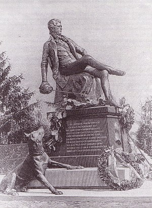 """Norbert Pfretzschner - Engraving of the original """"Young Bismarck Monument"""" in Bad Kösen"""