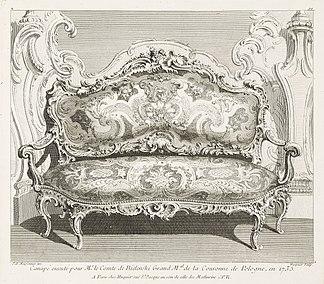 Juste-Aurèle Meissonnier - Canapé executé pour Mr. le Comte de Bielinski Grand M.al de la Couronne de Pologne, en 1735.; Canapé... - Google Art Project