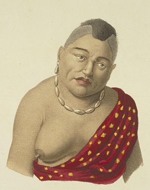 Pauli Kaōleiokū - Keōuawahine, one of the wives of Kaʻōleiokū, in 1819