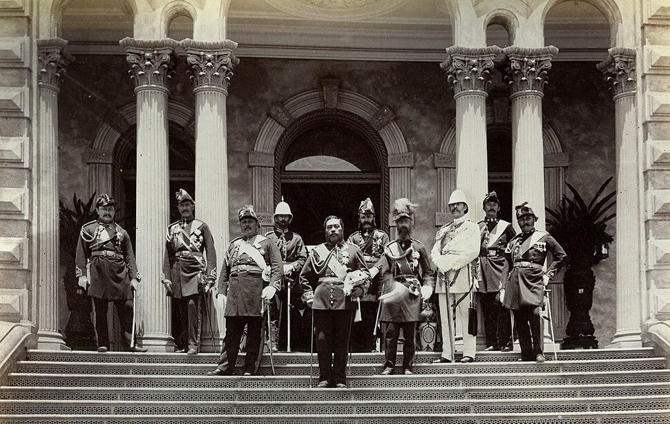 Kalakaua and staff outside Iolani Palace