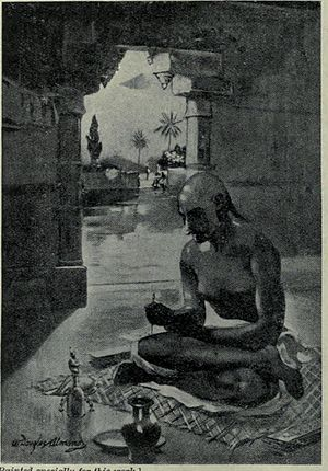 Meghadūta - Kalidasa writing The Cloud Messenger (Meghaduta), 375 CE illustration