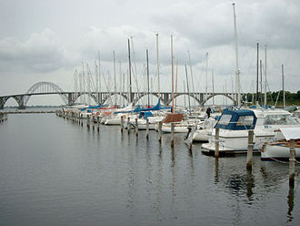 Møn - Kalvehave harbour with the Queen Alexandrine Bridge to the island of Møn in the background