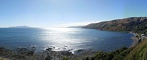 Pukerua Bay - View from the Goat Track walkway out to Kapiti Island and up the Kapiti Coast.