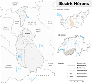 Hérens District - Image: Karte Bezirk Hérens 2017