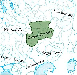 The Khanate of Kazan (green), c. 1500.