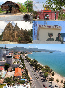 Clockwise, from left to right: Raglai House, Diên Khánh Citadel, Po Nagar Tower, Amboyna Cay, Nha Trang Coastline