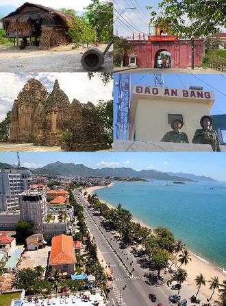 Khánh Hòa Province - Clockwise, from left to right: Raglai House, Diên Khánh Citadel, Po Nagar Tower, Amboyna Cay, Nha Trang Coastline