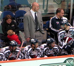 Nate Kiser Stands in as assistant coach for the South Carolina Stingrays' Military Appreciation Night, March 12, 2010.