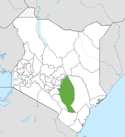 Location of Kitui County (Green)