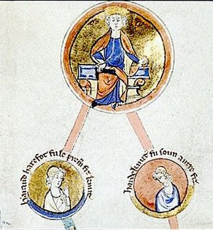 Harold Harefoot - Cnut, king of England, Denmark, and Norway, and his sons Harald Harefoot and Harthacnut