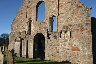 Kincardine O'Neil Hospital, Aberdeenshire - East end of adjoining Church of St Erchard (ruins) with lancet windows and internal aumbries.