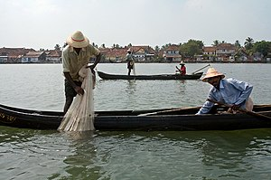 Economy of Kochi - Fishermen fishing in traditional boats in the backwaters. Kochi is a major exporter of seafood.