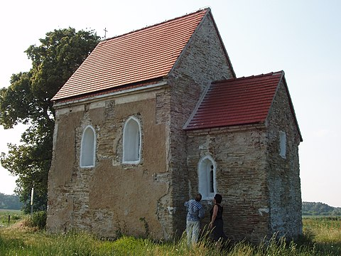Church of St. Margaret of Antioch, Kopcany (Kopcany, Slovakia, 9th-10th century) - the only preserved building from the time of Great Moravia. Kopcany kostol - sever.JPG