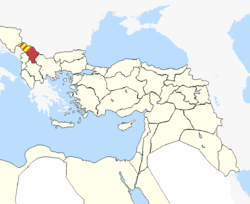 Kosovo Vilayet in Ottoman Empire (1900, occupied hashed).png