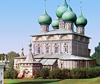 Kostroma - The Resurrection Church (1652) is a superb example of the 17th-century Russian art. Color photograph by Sergey Prokudin-Gorsky in 1910 (Library of Congress)
