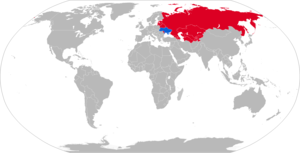 KrAZ-260 - Map with KrAZ-260 operators in blue with former operators in red