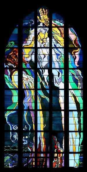 Stained glass window made by Stanisław Wyspiański in church of St. Francis in Kraków