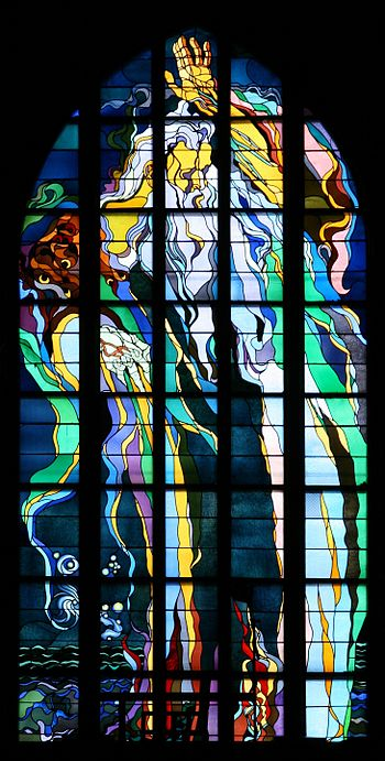 English: Stained glass window made by Stanisła...