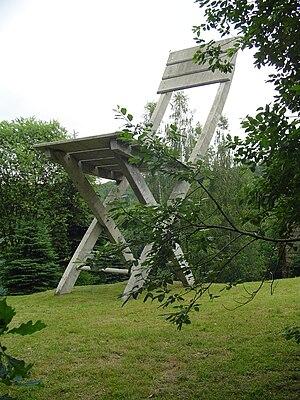 Tadeusz Kantor - Tadeusz Kantor, Kantor's chair, concrete sculpture, height 14 m. Hucisko, Poland