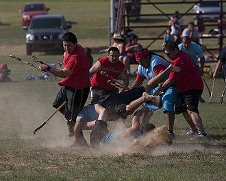Indigenous North American stickball - Image: Kullihoma Stickball Tournament