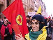 Kurdish protests against Kobane siege in Bologna-Italy