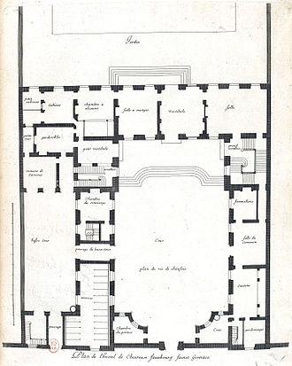 Hôtel de Chevreuse - Image: L'Architecture française (Marot) Bn F RES V 371 034r f 75 Hôtel de Chevreuse au faubourg Saint Germain, Plan (adjusted)