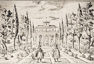 La Dori - Depiction of the stage set for the gardens of the seraglio, 1665