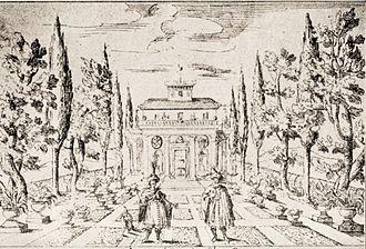 La Dori - Depiction of the stage set for the gardens of the seraglio, 1665