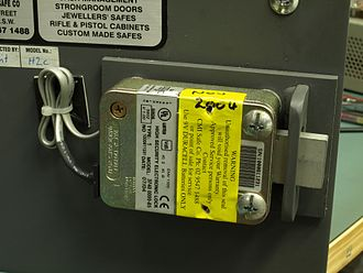 Electronic lock - A deadbolt electronic lock mounted in a home safe
