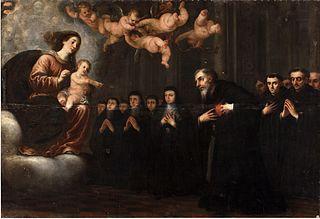 La Virgen y el Niño transverberando el corazón a San Agustín ante la comunidad de agustinos
