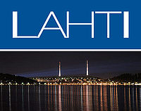 Skyline of Lahti and official logo