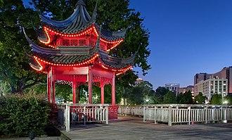 Lake Eola Park - Red pagoda at Lake Eola Park