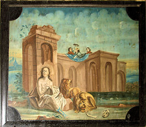 Darius the Mede - Detail from the church of Lambrechtshagen, Germany, 1759: Daniel in the lions' den with Darius the Mede above.