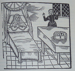 Margaret of Holland, Countess of Henneberg -  The childbirth and the children in the vessel. Print of 1620