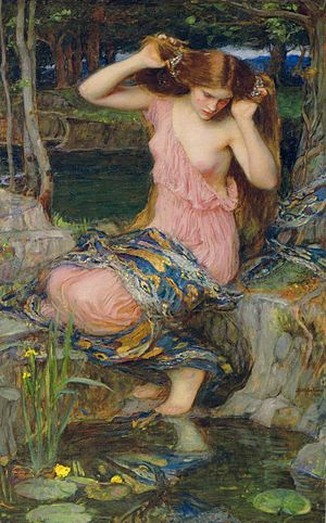Lamia - Lamia (second version) by John William Waterhouse (1909); note the snakeskin on her lap.