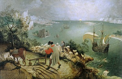 Picture of The Fall of Icarus by Pieter Bruegel - mentioned in the story several times.