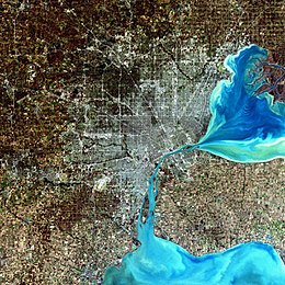 A simulated-color satellite image of Metro Detroit, with Windsor across the river, taken on NASA's Landsat 7 satellite.