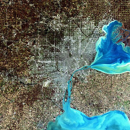 A simulated-color satellite image of the Detroit metro area, including Windsor across the river, taken on NASA's Landsat 7 satellite Large Detroit Landsat.jpg