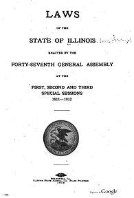 Title page of the 1912 Laws of Illinois Laws of Illinois 1911-1912 title page.jpg