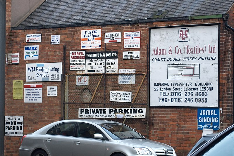 File:Leicester textile company signs.jpg