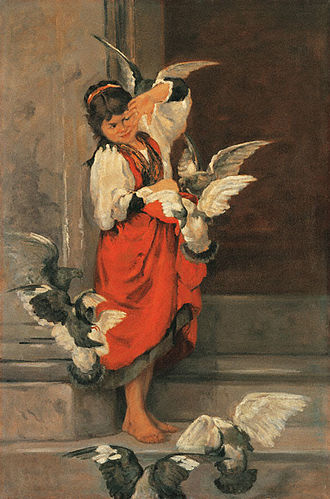 Polychronis Lembesis - The Girl with the Pigeons (c. 1879)