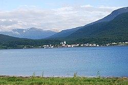 Lenvik kirke from Gibostad.jpg