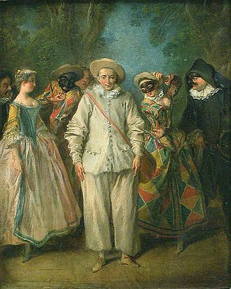 Pierrot - Nicolas Lancret: Actors of the Comédie-Italienne, between 1716 and 1736.  Musée du Louvre, Paris.